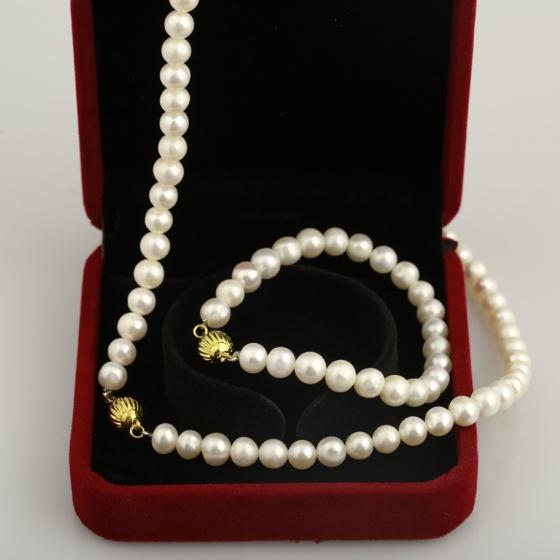 Opal - Bộ ngọc trai trắng khóa xi vàng 18k _ T08
