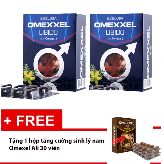 Combo 2 hộp viên uống tăng cường sinh lý và sức khỏe nam giới Omexxel Libido 60v + tặng  Omexxel Ali 30v