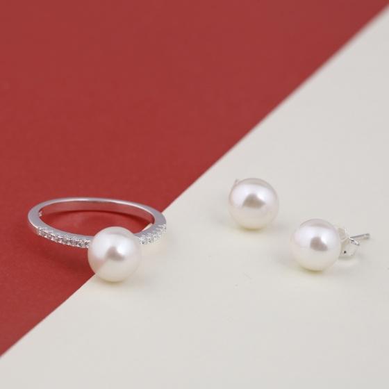 Opal- Nhẫn bạc kết hợp ngọc trai và hoa tai nụ_T09