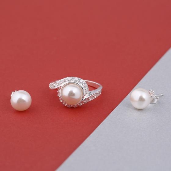 Opal - Hoa tai ngọc trai kết hợp nhẫn bạc đính ngọc trai_T09