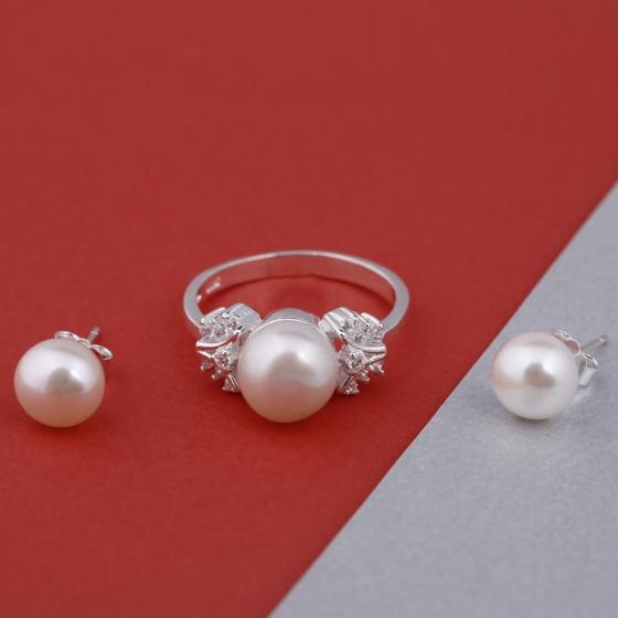 Opal- Nhẫn bạc ngọc trai kiều diễm và hoa tai bạc_T09