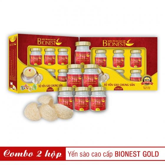 2 Hộp yến sào Bionest Gold cao cấp - hộp quà tặng 6 lọ