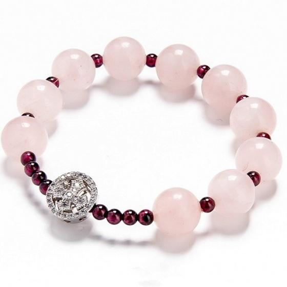 Vòng chuỗi Mân Côi thạch anh hồng 10mm mix ngọc hồng lựu ROSQ01 - Vietgemstones