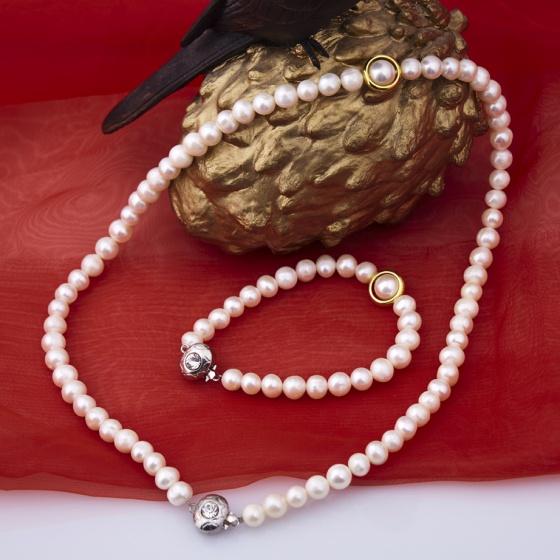 Opal - Bộ trang sức ngọc trai khoen xi vàng