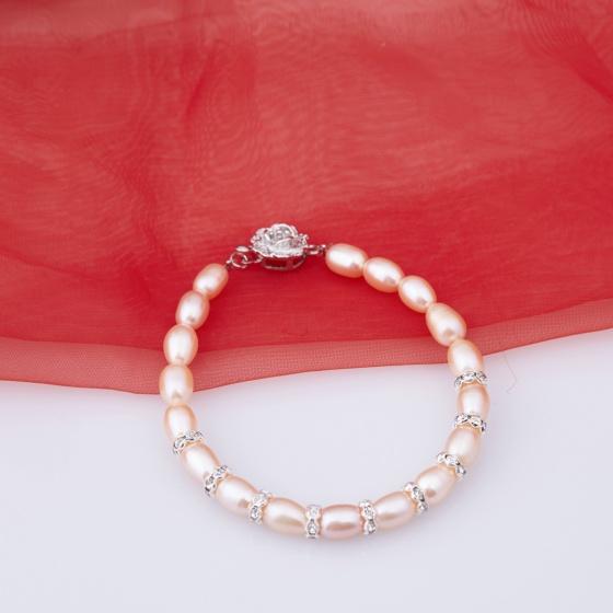 Opal -Vòng tay ngọc trai Oval hồng_T10