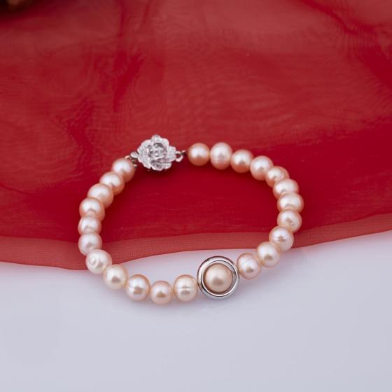 Opal - Vòng tay ngọc trai hồng tự nhiên khoen bạc_T10