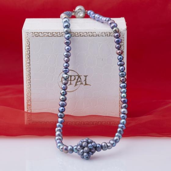 Opal - Vòng cổ ngọc trai đen ánh xanh 6li cách điệu_T11