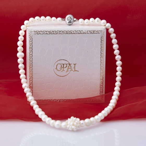 Opal - Vòng cổ ngọc trai trắng 6li _T11