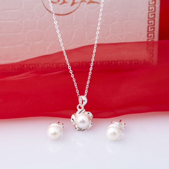 Opal - Mặt kèm dây chuyền bạc và hoa tai đính ngọc trai_T11