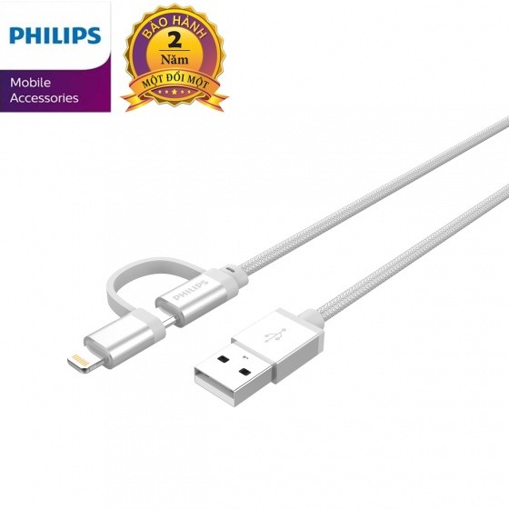 Cáp sạc USB-C Philips DLC4541VS tích hợp đầu chuyển đổi Linghtning