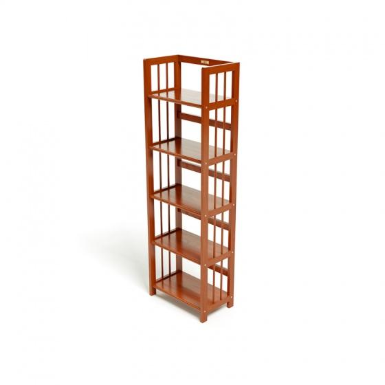 Kệ sách 5 tầng HB540 gỗ cao su màu cánh gián (40x30x150cm) - IBIE