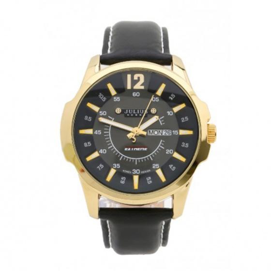 Đồng hồ nam Julius Hàn Quốc dây da JAH-017 JU957 (đen viền vàng)