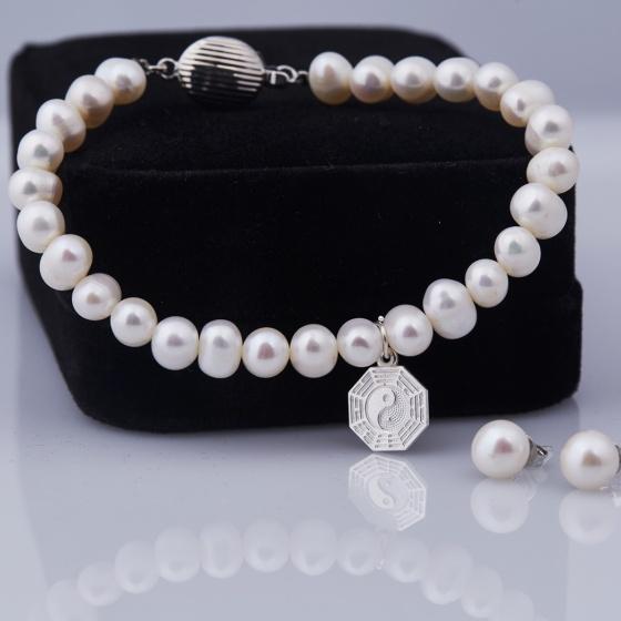 Opal  Vòng tay ngọc trai trắng tự nhiên charm bạc và hoa tai ngọc trai