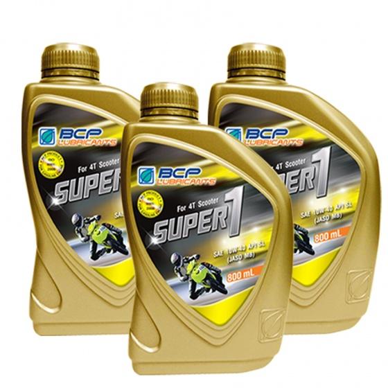 Combo 3 chai nhớt xe tay ga BCP Thái Lan nhập khẩu – SUPER 1 – 10W40 SL – 0.8 Lít