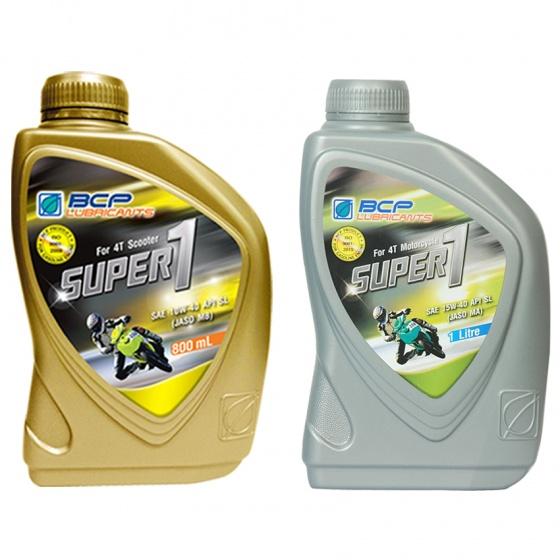 Combo nhớt xe tay ga BCP Thái Lan nhập khẩu – Super 1 – 10W40 SL – 0.8 lít + nhớt Thái Lan nhập khẩu cho xe số BCP Super 1 - Sae 15W40 - API SL - JASO MA - 1L