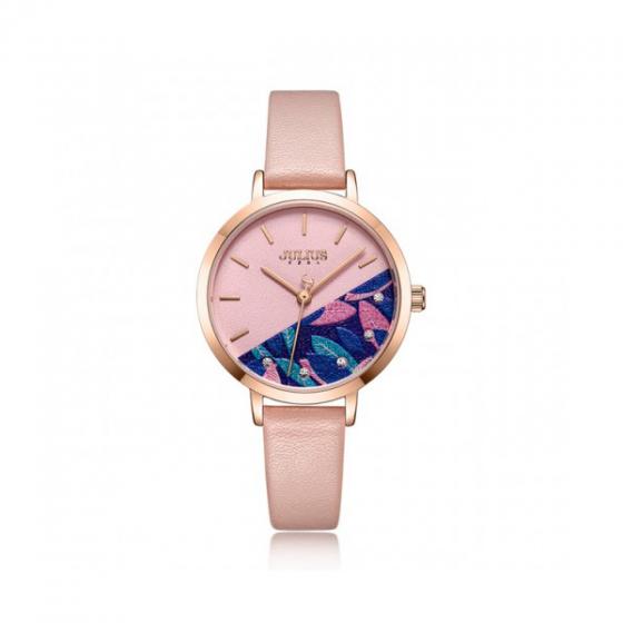 Đồng hồ nữ Julius Hàn Quốc JA-1089B dây da hồng