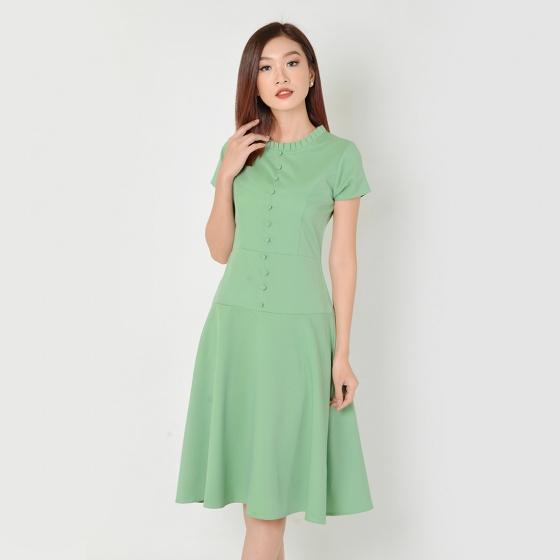Đầm xòe công sở thời trang Eden phối nút (xanh) - D330