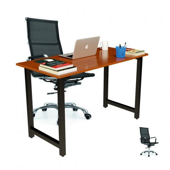 Bộ bàn Rec-T chân đen mặt cánh gián và ghế IB16A đen
