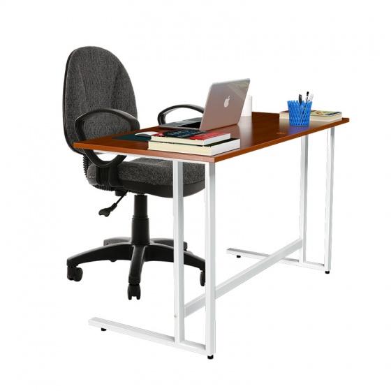 Bộ bàn Rec-U chân trắng mặt cánh gián và ghế IB505 đen có tay