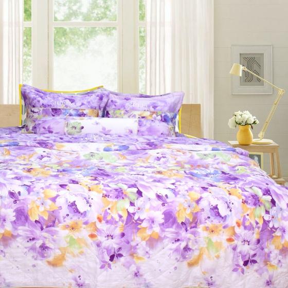 Bộ chăn ga gối 100% cotton sợi bông Hàn Quốc Julia (bộ 5 món có chăn chần gòn)180x200x25-206BG18