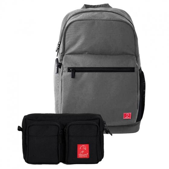 Combo balo laptop du lịch Glado Wander GWD001 (màu xám) và túi bao tử đeo chéo Glado Express GEX001 (màu đen)