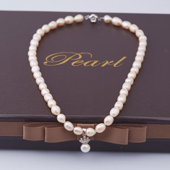 Opal - Vòng cổ ngọc trai oval hồng mặt bạc đính ngọc trai_T01