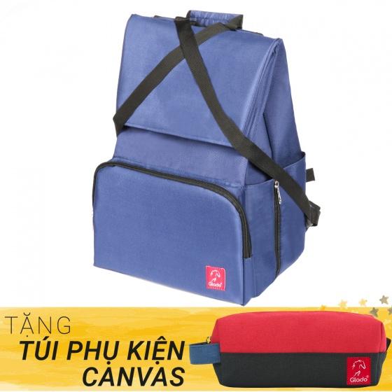 Balo du lịch thời trang Glado Wander GWD002 (màu xanh) - Tặng túi phụ kiện canvas
