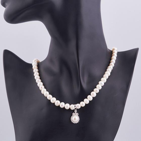 Opal - Vòng cổ ngọc trai trắng đính mặt bạc ngọc traiT01
