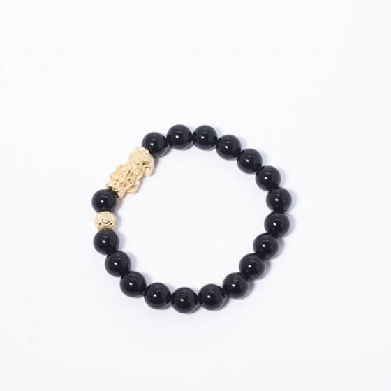 Vòng đá đá obsidian phối tỳ hưu bạc mạ vàng 24k Ngọc Quý Gemstones