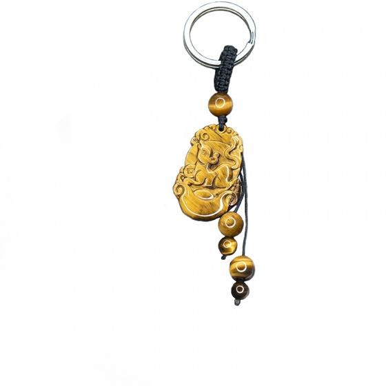 Móc khóa 12 con giáp đá mắt hổ vàng tự nhiên - Tuổi Tý MKTIGYTY01 VietGemstones