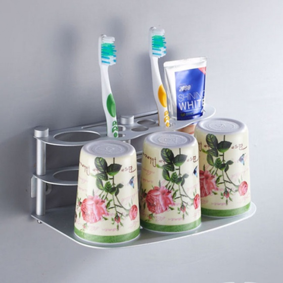 Kệ để bàn chải và kem đánh răng kèm 3 cốc OLO1688
