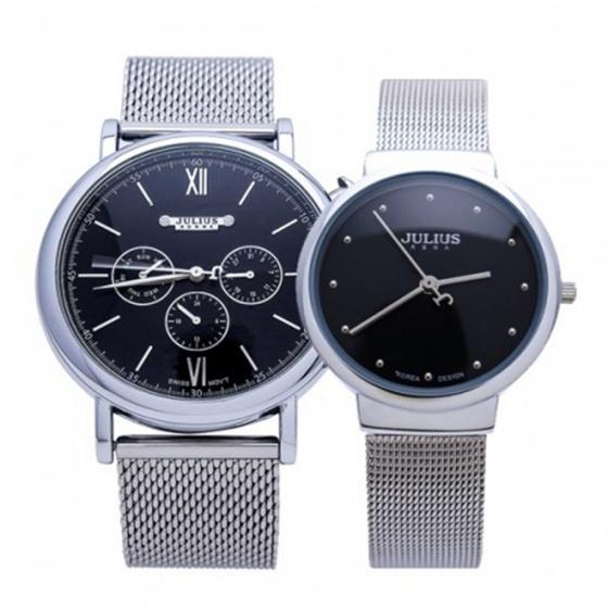 Combo đồng hồ nam nữ JAH-090B + JA-426LB Julius Hàn Quốc dây thép (bạc mặt đen)