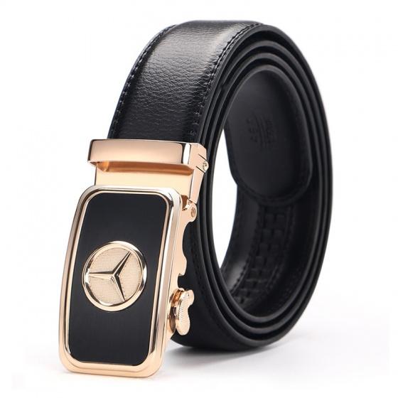 Thắt lưng dây nịt nam da bò 2 lớp Manzo 253 mặt khóa Mercedes - tặng móc khóa da bò