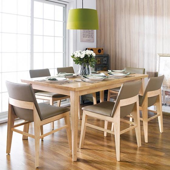 Bộ bàn ăn Zodax màu tự nhiên 6 ghế