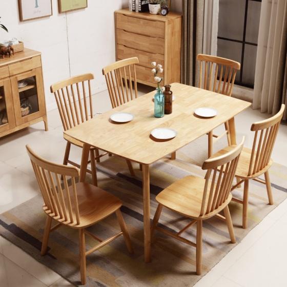 Bộ bàn ăn Pinnstol Anpha màu tự nhiên 6 ghế