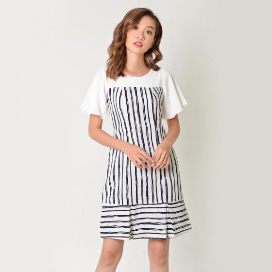 Đầm suông thời trang Eden kẻ sọc màu trắng sọc đen - D340