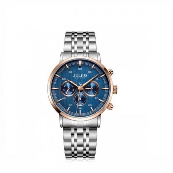 đồng hồ nam Julius Hàn Quốc JAH-100C dây thép ( xanh)