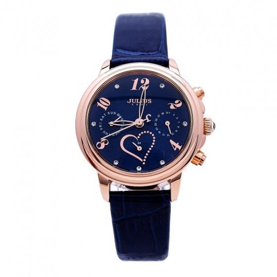 Đồng hồ nữ dây da Julius Hàn QuốcJA-844E  ju1016 6 kim (xanh đen)
