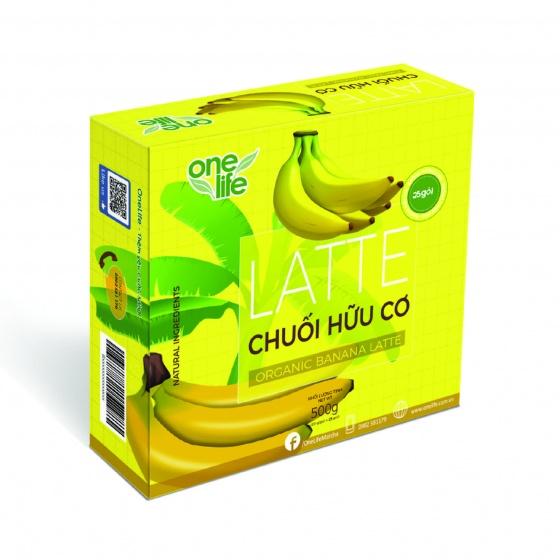 Trái cây sạch - Latte chuối hữu cơ Onelife (Sinh tố chuối) - Hộp 25 gói