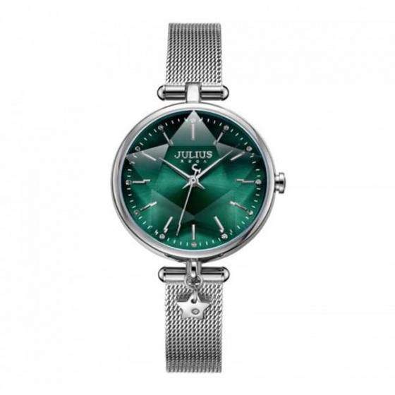 Đồng hồ nữ ja-1145a julius hàn quốc dây thép - bạc