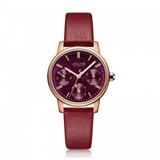 Đồng hồ nữ js-023d julius star hàn quốc dây da - đỏ