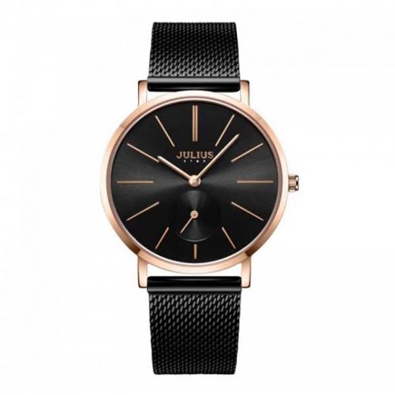 Đồng hồ nữ js-022d julius star hàn quốc dây thép - màu đen