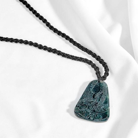 Mặt dây chuyền phong thủy đá chalcedony xanh đen mặt đại bàng Ngọc Quý Gemstones