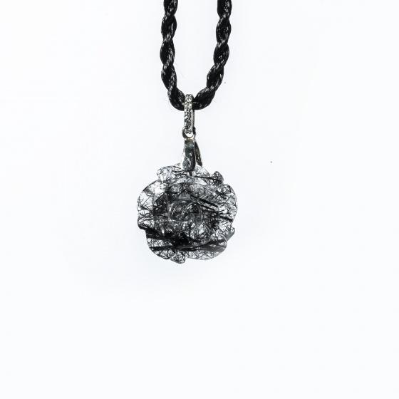 Mặt dây chuyền hoa mẫu đơn thạch anh tóc đen PDPBGQ01 - Vietgemstones