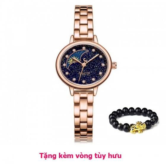[ mua 1 tặng 1 ] Đồng hồ nữ ja-1157e julius sun and moon dây thép đồng xanh đậm - Tặng kèm vòng tùy hưu
