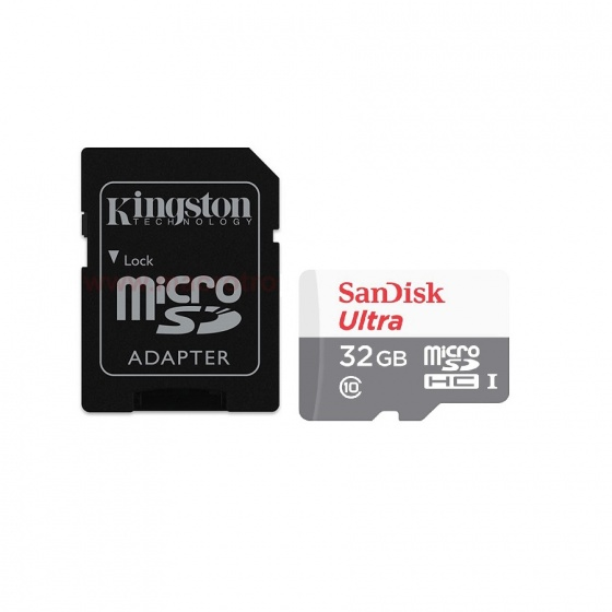 Combo thẻ nhớ Sandisk ultra micro SDHC 32GB C10+ Adapter Kingston