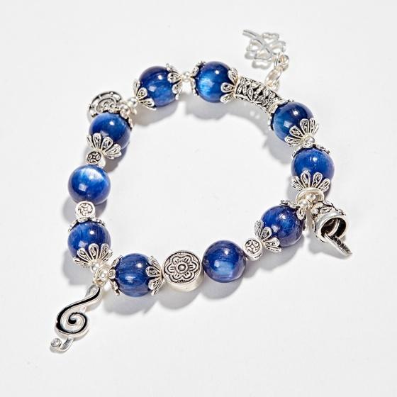 Vòng tay phong thủy đá kyanite phối charm nốt nhạc bạc (9mm) Ngọc Quý Gemstones