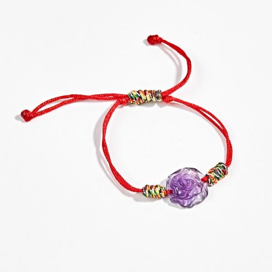 Vòng tay phong thủy dây ngũ sắc hoa mẫu đơn đá thạch anh tím Ngọc Quý Gemstones