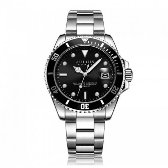 Đồng hồ nam jah-104b julius hàn quốc dây thép - đen