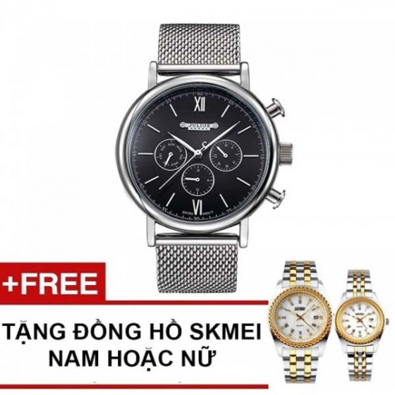 Đồng hồ nam jah-090b đen julius tặng đồng hồ skmei nam hoặc nữ ngẫu nhiên